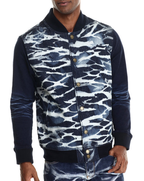 Ur-ID 212915 Heritage America - Men Light Wash Marble Wash Denim Jacket