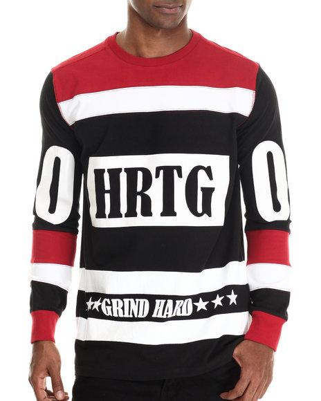 Heritage America - Men Black Grind Hard Hockey Jersey L/S Tee