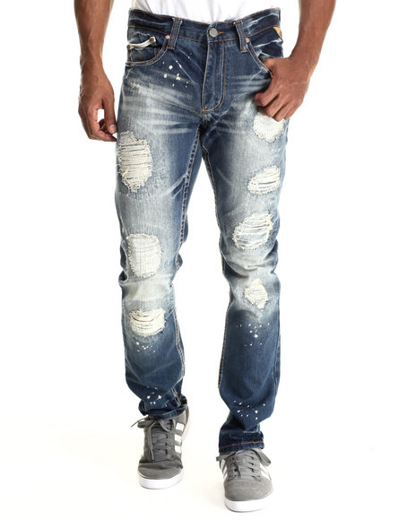 Ur-ID 212896 Heritage America - Men Medium Wash Rip & Repair Denim Jeans