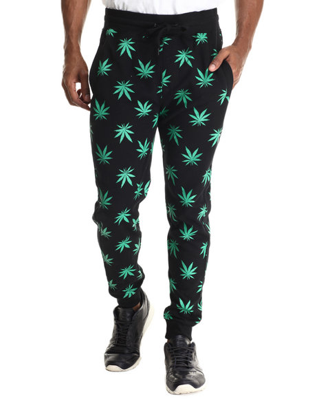 Ur-ID 212900 Buyers Picks - Men Green Plant Life Allover Print Drawstring Jogger Sweatpants
