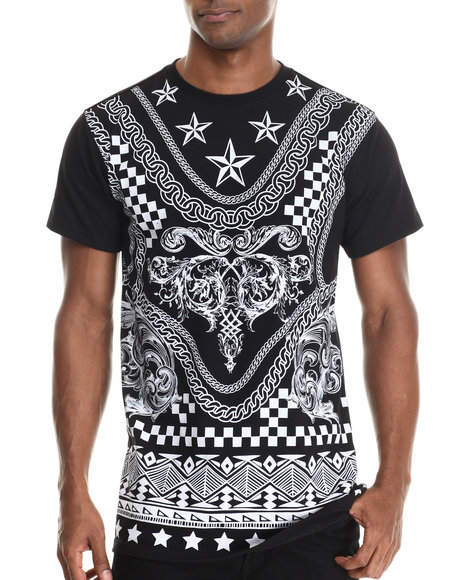 Buyers Picks - Men Black Mix'd Stars Print S/S Tee (E-Longated Detail)
