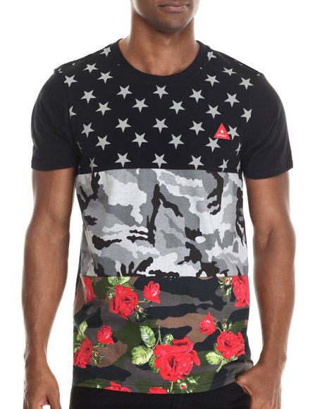 Asphalt Yacht Club - Men Black Triple Print Floral Camo Tee