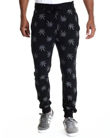 Buyers Picks - Men Grey Plant Life Allover Print Drawstring Jogger Sweatpants - $42.99