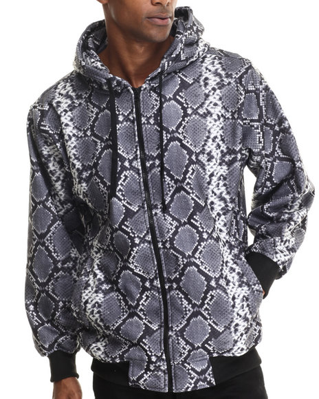 Basic Essentials - Men Grey Snakeskin Print Fleece Hoodie - $29.00