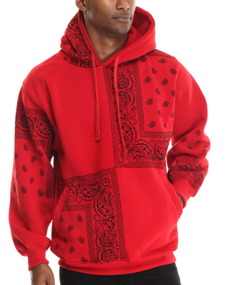 Basic Essentials - Men Red Pasley Print Fleece Hoodie