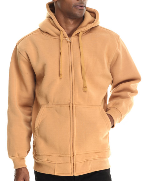 Ur-ID 212921 Basic Essentials - Men Wheat Zip-Up Fleece Hoodie