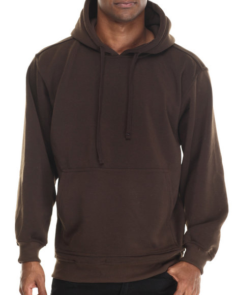Ur-ID 212922 Basic Essentials - Men Brown Pull-Over Fleece Hoodie