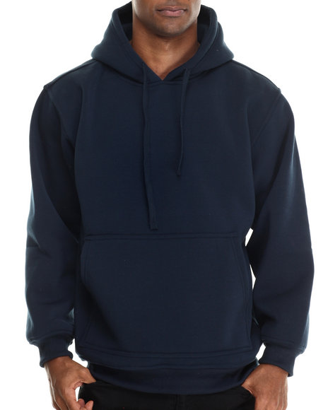 Ur-ID 212923 Basic Essentials - Men Navy Pull-Over Fleece Hoodie