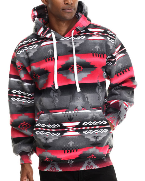 Basic Essentials - Men Black Aztec Print Fleece Hoodie