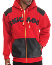 Basic Essentials - Chicago PU Combo Fleece Hoodie