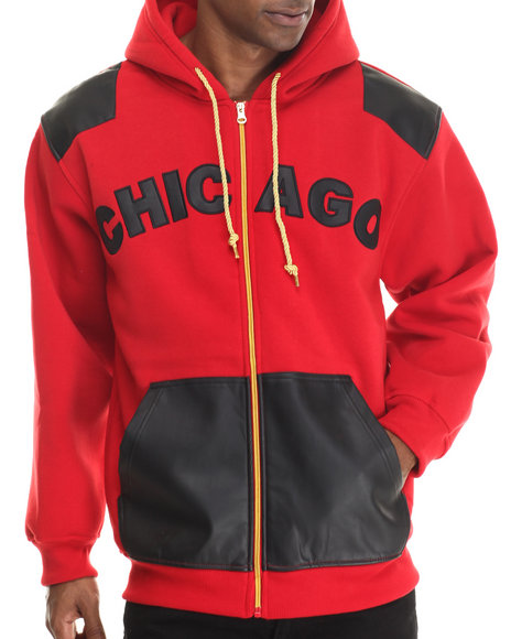 Basic Essentials - Men Red Chicago Pu Combo Fleece Hoodie
