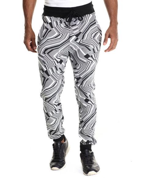 Buyers Picks - Men Black Zig Zag Print Drawstring Jogger Sweatpants