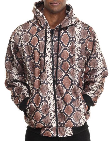 Basic Essentials - Men Brown Snakeskin Print Fleece Hoodie