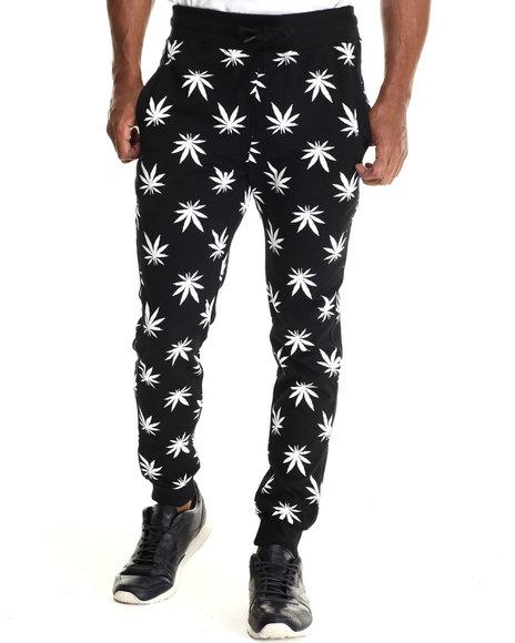 Buyers Picks - Men Black,White Plant Life Allover Print Drawstring Jogger Sweatpants - $40.99