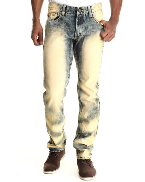 Ur-ID 212930 Heritage America - Men Vintage Wash Indigo Bleach Out Denim Jeans