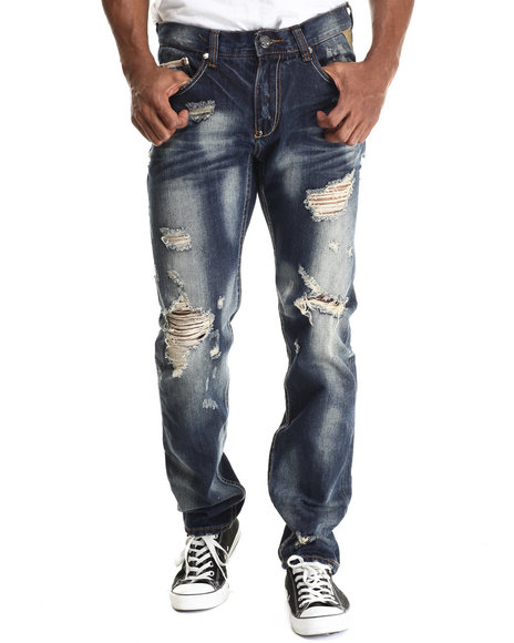 Ur-ID 212934 Heritage America - Men Medium Wash Indigo Beatdown Denim Jeans
