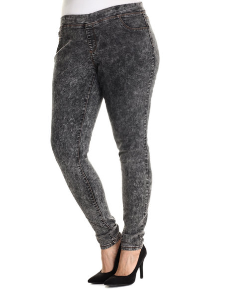 Basic Essentials - Women Black Pull On Acid Skinny