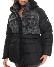 COOGI - Tweed & Nylon Belted Puffer Jacket w/ Faux Fur Trim (Plus)