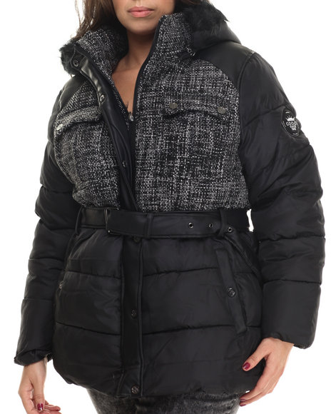 Coogi - Women Black,White Tweed & Nylon Belted Puffer Jacket W/ Faux Fur Trim (Plus)