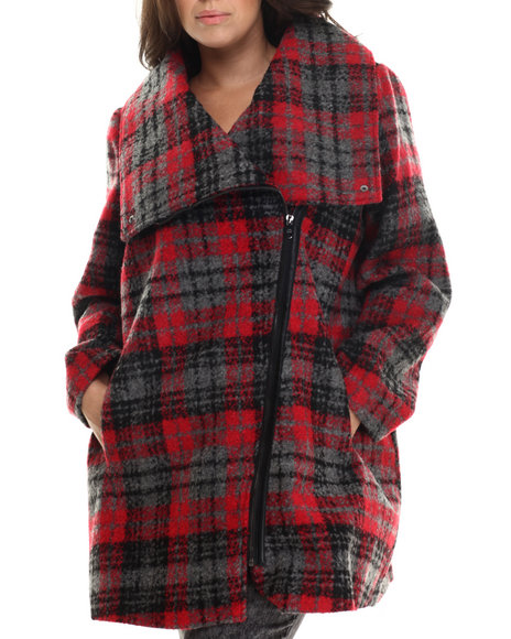 Ur-ID 212742 Steve Madden - Women Black,Red Plaid Oversized Collar Wool Coat (Plus)