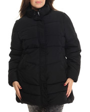 Women - Long Removable Faux Fur Hood Parka (Plus)