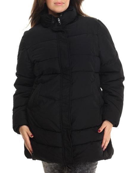 Steve Madden - Women Black Long Removable Faux Fur Hood Parka (Plus)