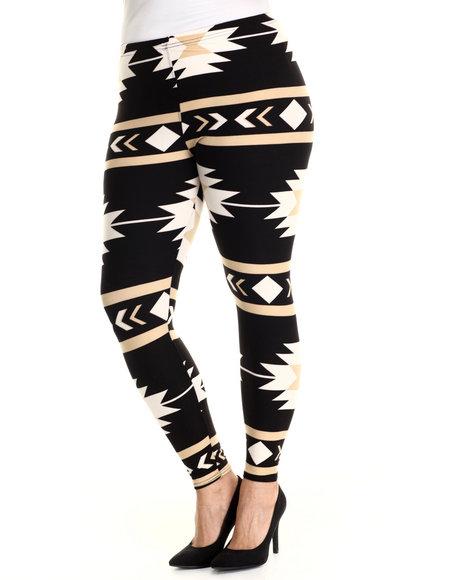 Fashion Lab - Women Black,Tan Southwest Legging (Plus Size)