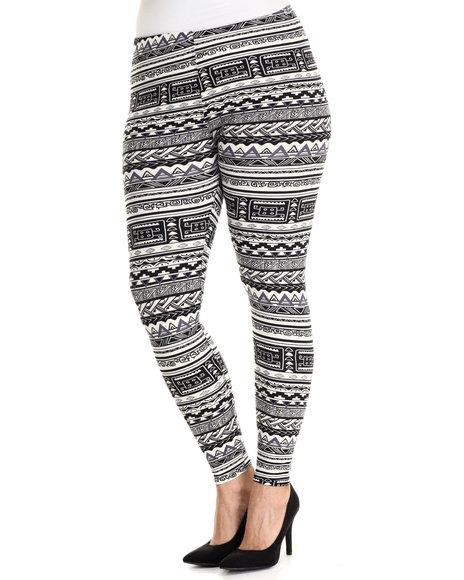 Fashion Lab - Women Black,White Tribal Print Legging (Plus Size)