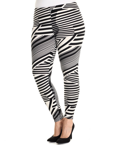 Ur-ID 212744 Fashion Lab - Women Black,White Geo Print Legging (Plus Size)