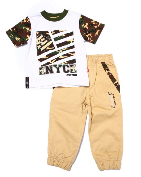 Enyce - Boys Khaki 2 Pc Camo Jogger Set (2T-4T)