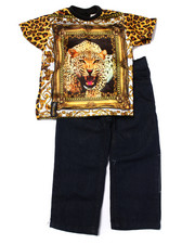Sets - 2 PC SET - SUBLIMATED LEOPARD TEE & JEANS (2T-4T)