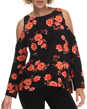 Tops - Cold Shoulder Floral L/S Button Back Top