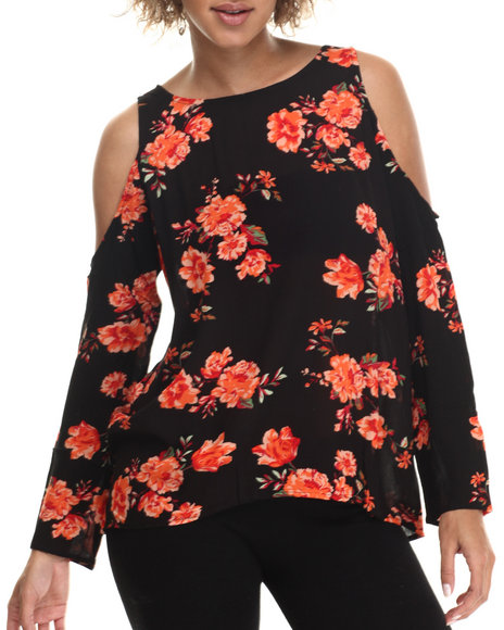 Ur-ID 212945 ALI & KRIS - Women Black,Multi Cold Shoulder Floral L/S Button Back Top