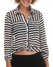 Women - Stripe Chiffon L/S Button Down