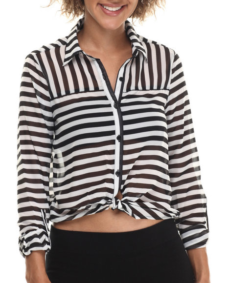 Ur-ID 212947 ALI & KRIS - Women Black,White Stripe Chiffon L/S Button Down