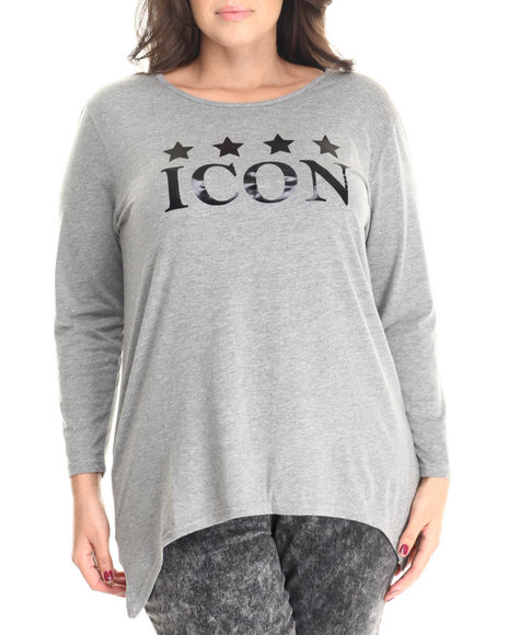 Baby Phat - Women Grey Fish Tail Icon Graphic Tee (Plus)