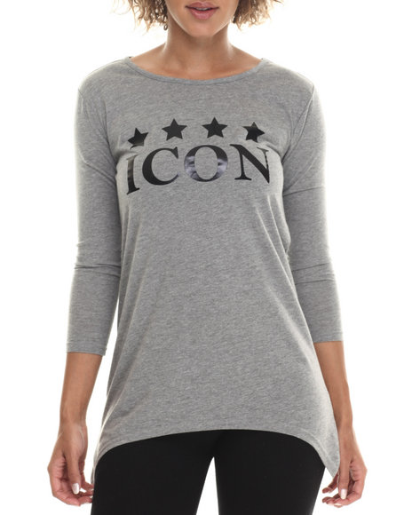 Baby Phat - Women Grey Fish Tail Icon Graphic Tee