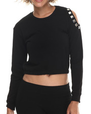 Fashion Tops - Fleece Cropped Cold Shoulder Sweatshirt