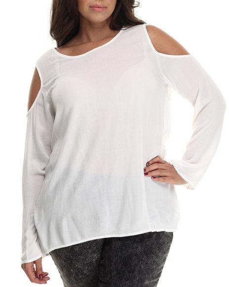 Ali & Kris - Women White Cold Shoulder L/S Top (Plus) - $29.00