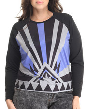 Tops - Aztec Print Long Sleeve Top (PLUS)