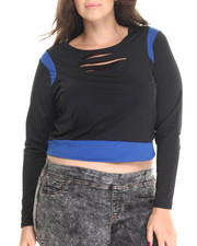 Women - Lazer Cut Crop Top (Plus)