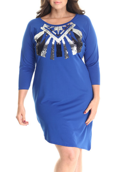 Ur-ID 212974 Baby Phat - Women Blue Asymmetrical Aztec Sequin Dress (Plus)