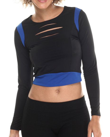 Baby Phat - Women Black Lazer Cut Crop Top