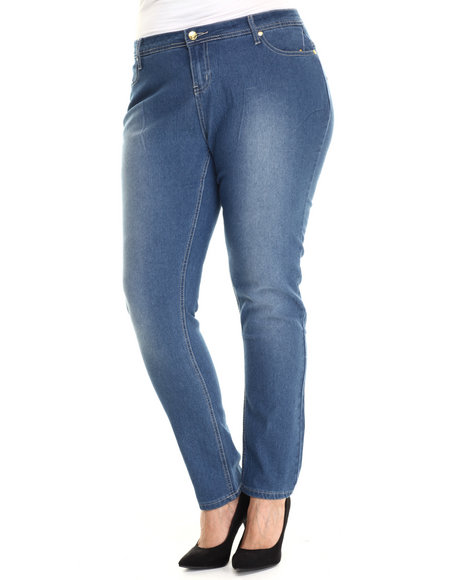 Apple Bottoms - Women Medium Wash Bling Back Pocket Skinny Jean (Plus)