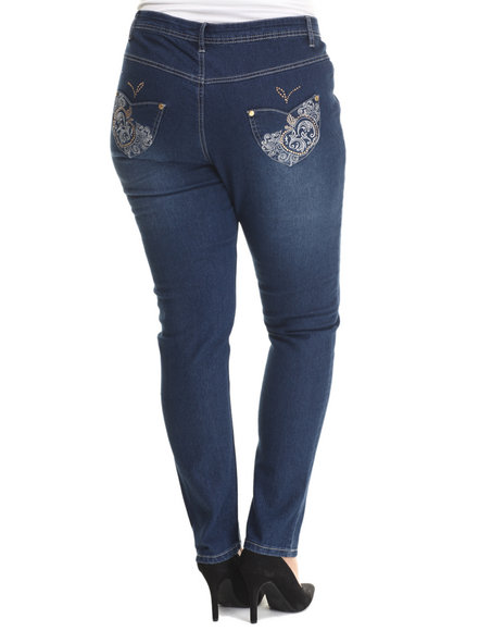 Apple Bottoms - Women Dark Wash Bling Back Pocket Skinny Jean (Plus) - $35.00