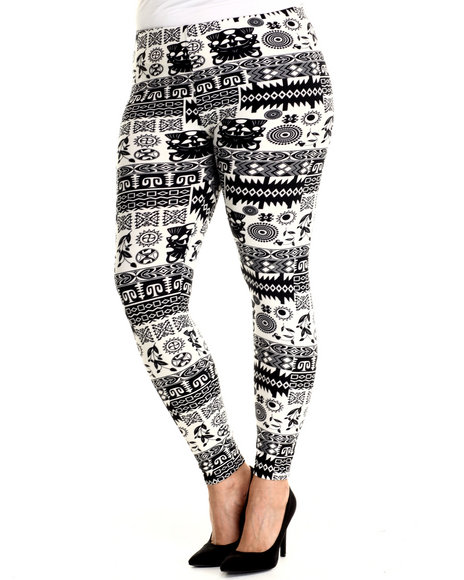 Ur-ID 215019 Fashion Lab - Women Black,White Winter Solstice Dance Legging (Plus Size)
