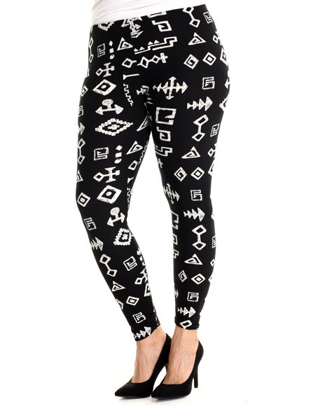 Fashion Lab - Women Black,White Caveman Legging (Plus Size)
