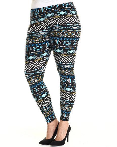 Fashion Lab - Women Black,Blue Tribal Legging (Plus Size)