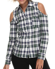 Women - Cold Shoulder Plaid L/S Button Down