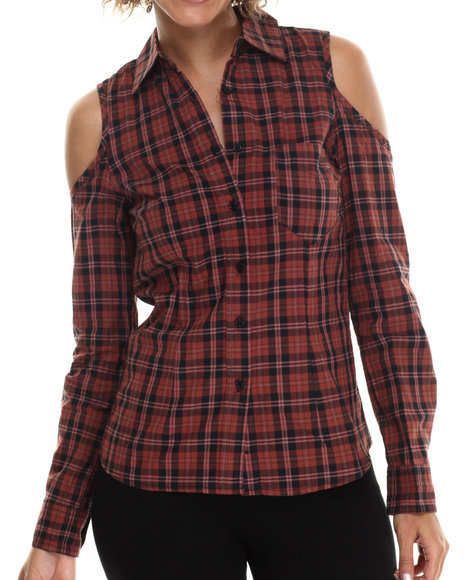 Ur-ID 212937 ALI & KRIS - Women Red Cold Shoulder Plaid L/S Button Down